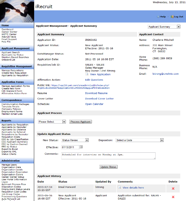 irecruit applicant tracking system applicant summary page